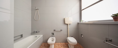interior spaces: Old domestic bathroom of an apartment
