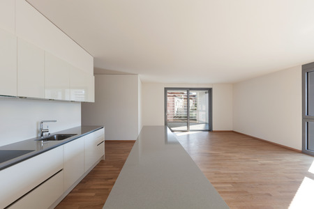 domestic kitchen: Interior, domestic kitchen in empty apartment, parquet floor