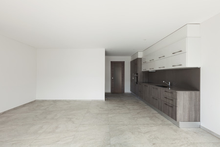 contemporary house: Interior of empty apartment, wide room with kitchen, tiled floor