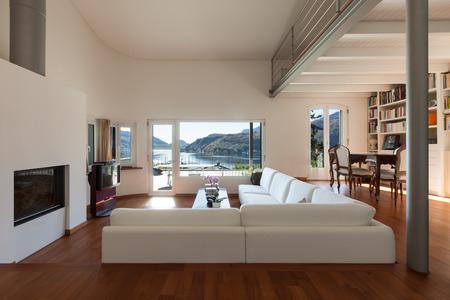 Interiors Comfortable Living Room Of A Loft White Divans Stock