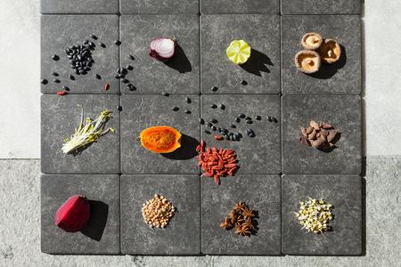leguminosas: Fruit, vegetables and legumes on tiles Foto de archivo