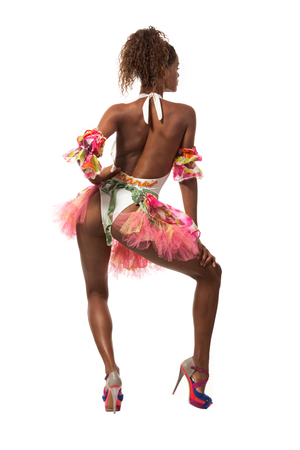 african fashion: brazilian dancer isolated on white background, studio portrait Stock Photo