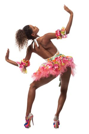 brazilian dancer isolated on white background, studio portrait Stock Photo