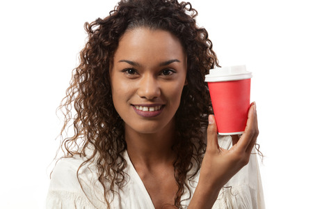 young black girl: Beautiful girl with a drink,  portrait in studio Stock Photo