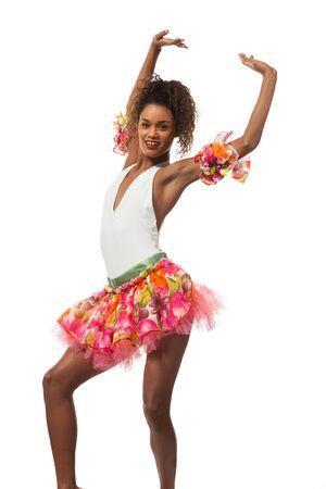 brazilian dancer isolated on white background, studio portrait Stock Photo