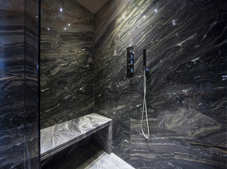 marble stone: Interior of modern bathroom with black marble Stock Photo