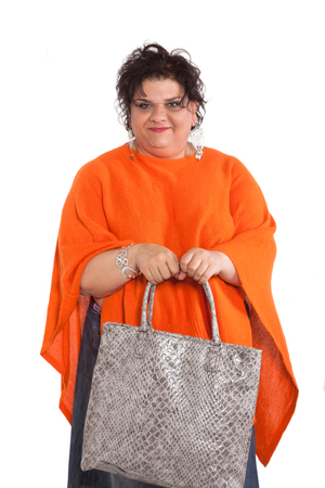 oversized: portrait of cheerful woman with bag, isolated on white background