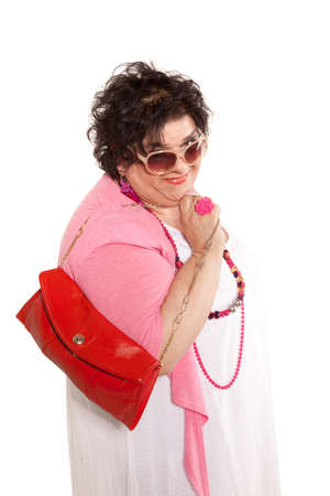 oversize: portrait of cheerful woman with a bag, isolated on white background