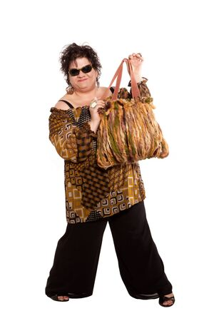 oversized: portrait of cheerful woman with her bag, isolated on white background