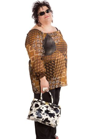 oversized: portrait of cheerful woman with a bag, isolated on white background