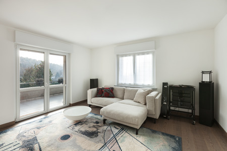 wood floor: Apartment interior, living room with wooden floor and white walls