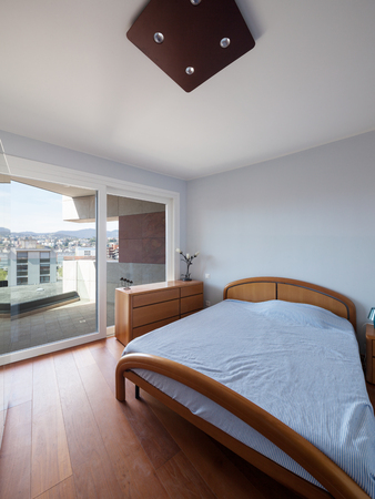 indoor inside: Interiors of a modern apartment, bedroom Stock Photo