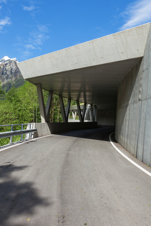 beton: Glimpse of modern gallery surrounded by nature. Theres nobody Stock Photo