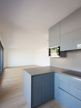Modern kitchen in new apartment. Nobody inside Stock Photo