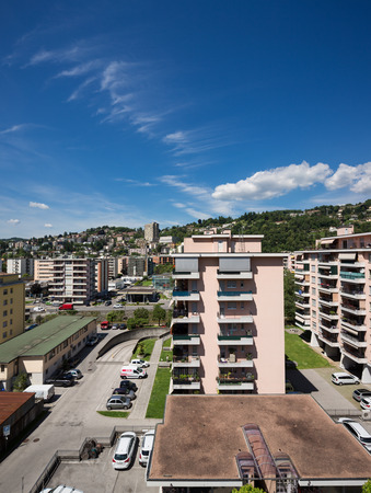 suburbs: View of suburbs of Lugano city