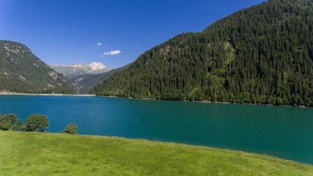 Beautiful lake of Sufers in Switzerland. Summer time Stock Photo
