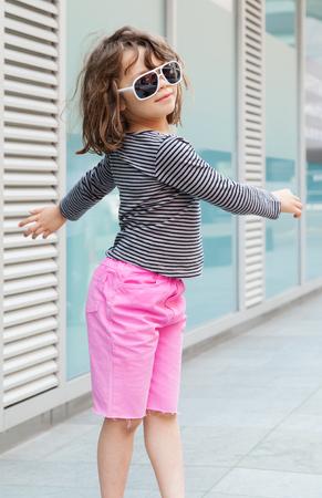 portrait of girl with sunglasses, external Archivio Fotografico