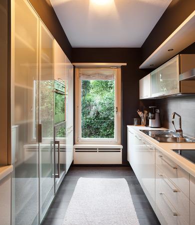 furniture design: Architecture, modern house, domestic kitchen view