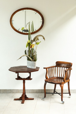 vintage furniture: interior, vintage furniture, small table and chair