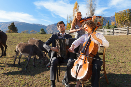 Portrait of three young musicians, scene at a farm Stock Photo