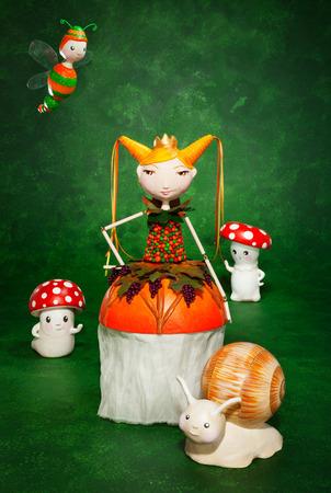 cute puppets handmade, green background