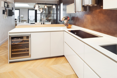 kitchen cabinets: Architecture, beautiful apartment furnished, domestic kitchen Stock Photo