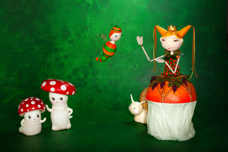 puppets: cute puppets handmade, two mushrooms, green background