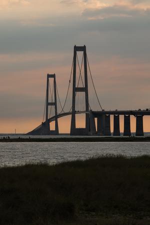 Storebæltsbroen bridge during sunset. Its a wonderful sight Lizenzfreie Bilder