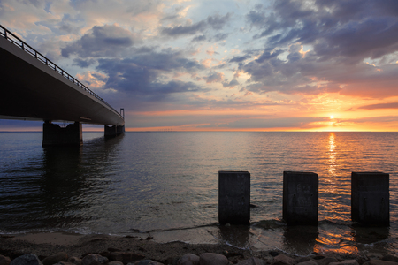 Storebæltsbroen bridge. The sun is setting