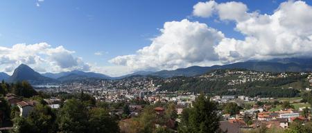 panorama of Lugano in Switzerland Lizenzfreie Bilder
