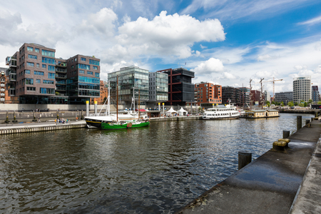 Hamburg skyline, there are many ships on the canal Archivio Fotografico