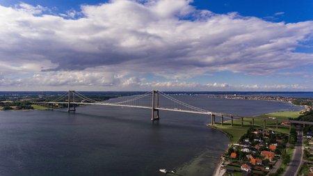 New Little Belt Bridge and small town of Middelfart seen from aerial view