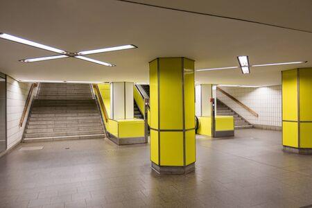 Interior of yellow subway in Hamburg. Nobody inside Lizenzfreie Bilder