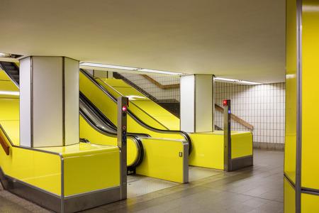 Close up of escalators in Hamburg subway. Nobody inside