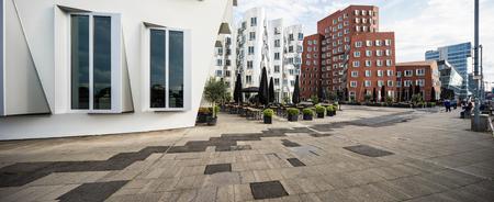 Modern curved buildings in Dusseldorf Imagens