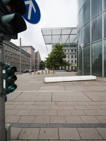 Pedestrian area and modern building