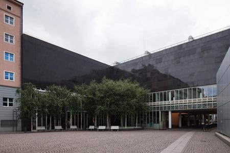 Modern dark architecture in Dusseldorf. Nobody inside