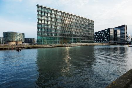 Modern buildings on the river in Copenhagen
