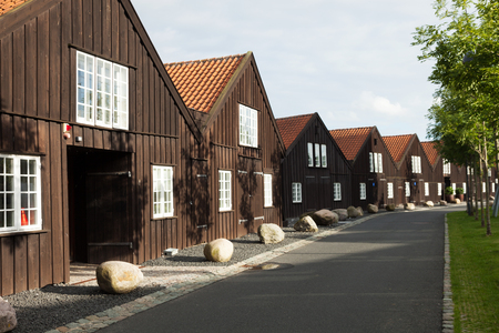 Exterior of wooden terraced houses