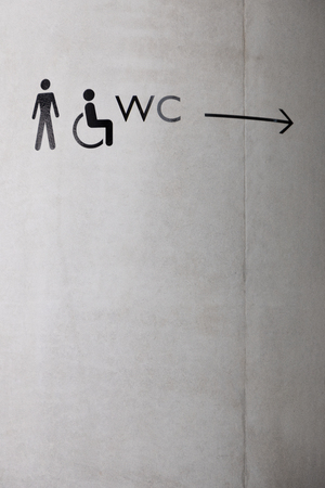 bathroom icons, wall directions