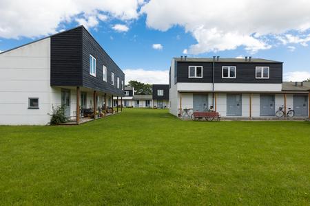 modern buildings with garden