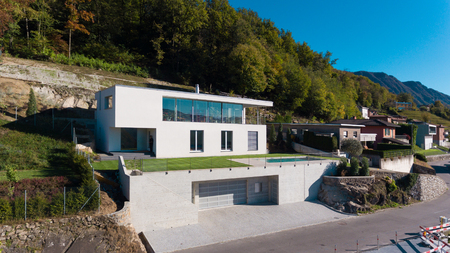 Modern villa, aerial view Stock Photo