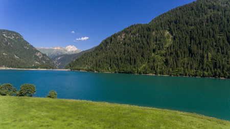 landscape seen from above with drone, valley with lake Archivio Fotografico