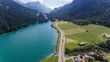 landscape seen from above with drone, valley with lake Standard-Bild