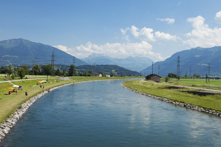 The artificial canal passes into the valley
