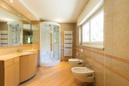 Luxurious bathroom with upholstery. Nobody inside Stock Photo