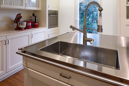 Detail of modern sink in stainless steel