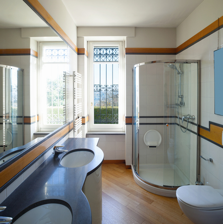 Tile bathroom with a great mirror Stock fotó