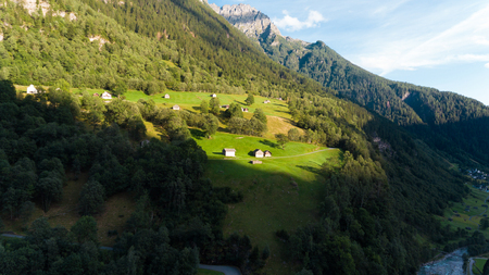 Aerial view of the Rossa valley in the canton Grisons in Switzerland Archivio Fotografico