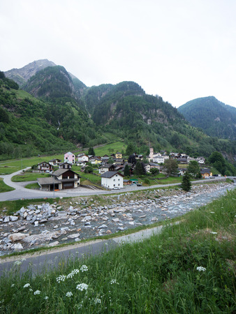 Landscape of Rossa valley in canton Grisons, Switzerland